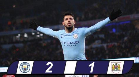 Aguero vụt sáng phút chót, Man City thắng nhọc Bristol City