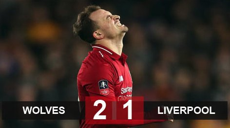 Wolves 2-1 Liverpool: The Kop bị loại cay đắng ở FA Cup