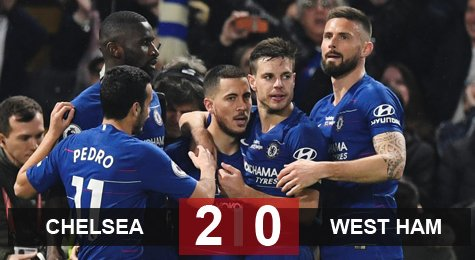 Chelsea 2-0 West Ham: Chelsea vào top 3